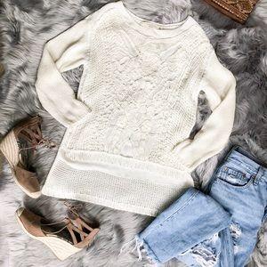Zara Knit Crochet Sweater